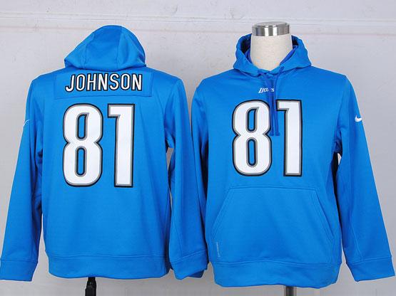 mens nfl detroit lions #81 johnson Light Blue hoodie jersey
