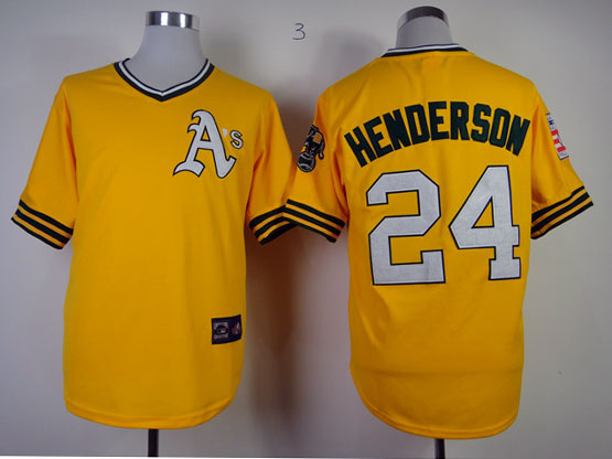 Mens Mlb Oakland Athletics #24 Henderson Yellow Throwbacks Jersey (white Number) Fj