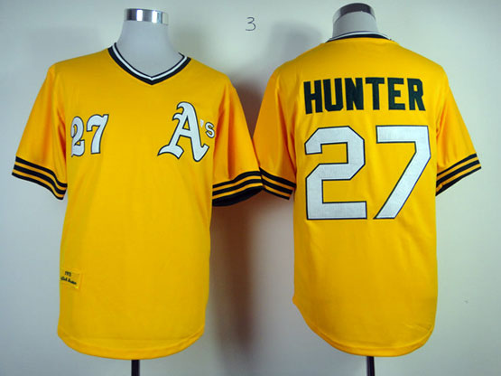 Mens Mlb Oakland Athletics #27 Hunter Yellow Throwbacks Jersey (white Number) Fj