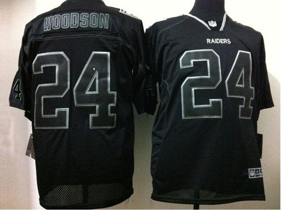 Mens Nfl Oakland Raiders #24 Woodson Black (light Out) Elite Jersey