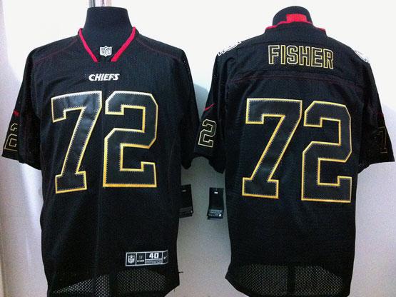 Mens Nfl Kansas City Chiefs #72 Fisher Black (light Out) Elite Jersey