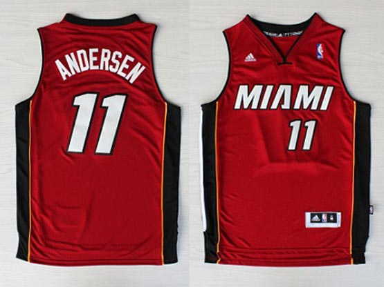 Mens Nba Miami Heat #11 Andersen Red (miami White Number) Revolution 30 Jersey (p)