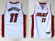 Mens Nba Miami Heat #11 Andersen White (miami Red Number) Revolution 30 Jersey (p)