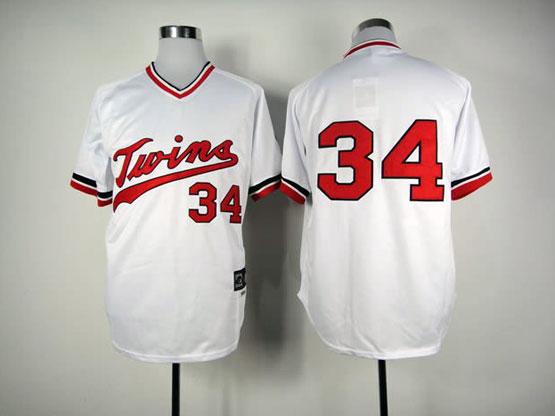 Mens Mlb Minnesota Twins #34 Puckett White Jersey(no Name) Fj