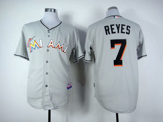 Mens Mlb Miami Marlins #7 Reyes Gray Jersey
