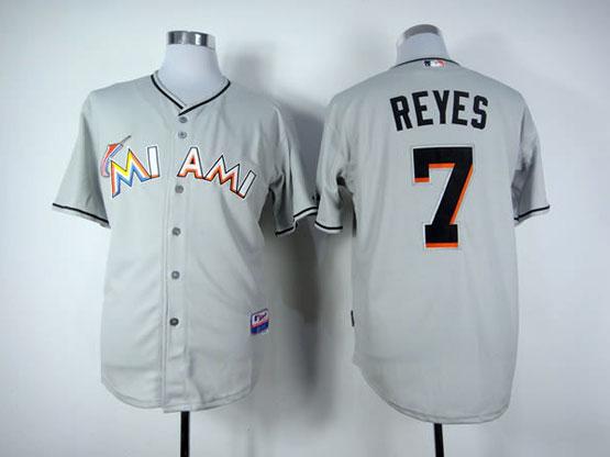Mens Mlb Miami Marlins #7 Reyes Gray Jersey