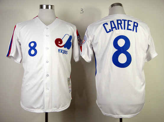 Mens mlb montreal expos #8 carter white throwbacks Jersey