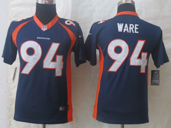 Youth Nfl Denver Broncos #94 Ware Blue (2014 New) Limited Jersey