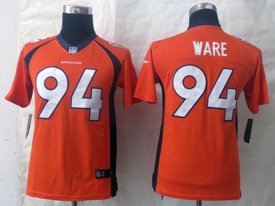 Youth Nfl Denver Broncos #94 Ware Orange (2014 New) Limited Jersey