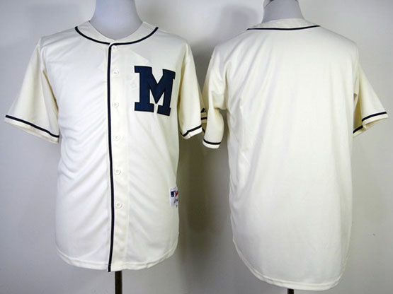 Mens Mlb Milwaukee Brewers (blank) 1913 Cream Turn Back The Clock Jersey