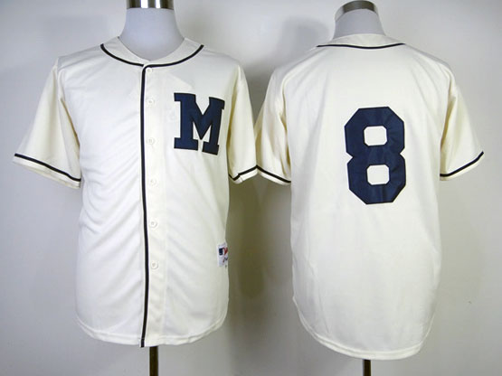 Mens Mlb Milwaukee Brewers #8 Braun 1913 Cream Turn Back The Clock Jersey
