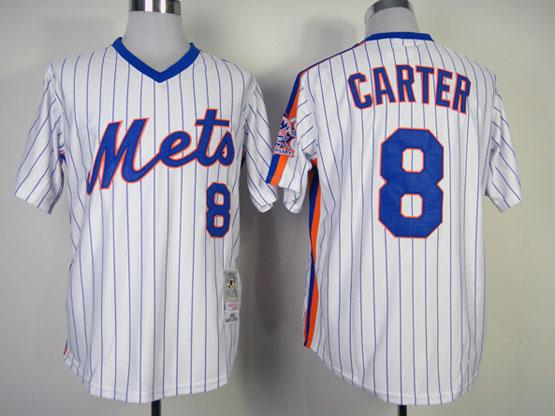 Mens mlb new york mets #8 carter white(blue strip) throwbacks Jersey