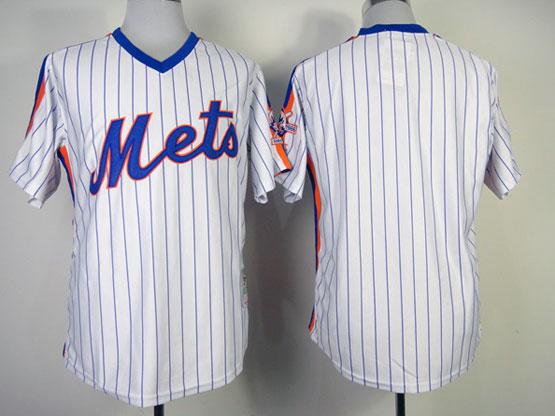 Mens mlb new york mets (blank) white(blue strip) 1986 throwbacks Jersey