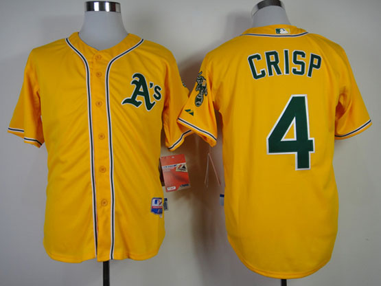 Mens mlb oakland athletics #4 crisp yellow Jersey