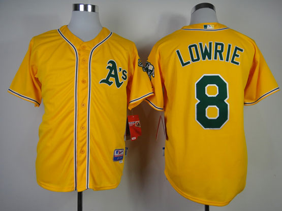 Mens mlb oakland athletics #8 lowrie yellow Jersey