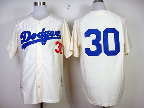 mens mlb los angeles dodgers #30 maury cream throwbacks Jersey (no name)