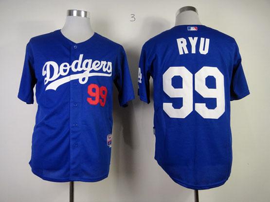Mens mlb los angeles dodgers #99 ryu blue Jersey
