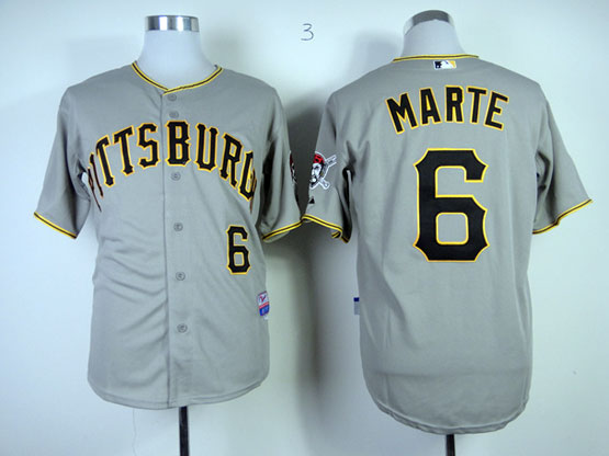 Mens Mlb Pittsburgh Pirates #6 Marte Gray Cool Base Jersey