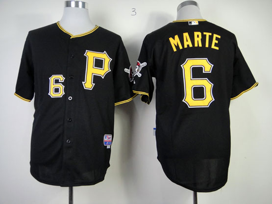 Mens mlb pittsburgh pirates #6 marte black cool base Jersey