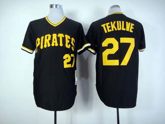 Mens Mitchell&ness Mlb Pittsburgh Pirates #27 Tekulve Black Throwbacks Pullover Jersey