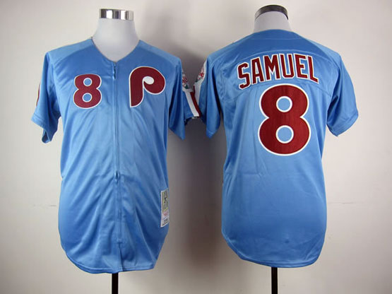 Mens mlb philadelphia phillies #8 samuel blue throwbacks Jersey