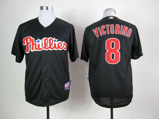 Mens mlb philadelphia phillies #8 victorino black Jersey