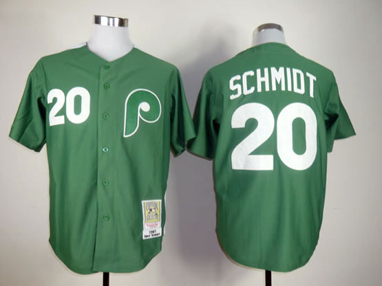 Mens mlb philadelphia phillies #20 schmidt green throwbacks Jersey