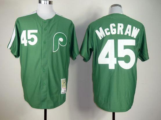 Mens mlb philadelphia phillies #45 mcgraw green throwbacks Jersey