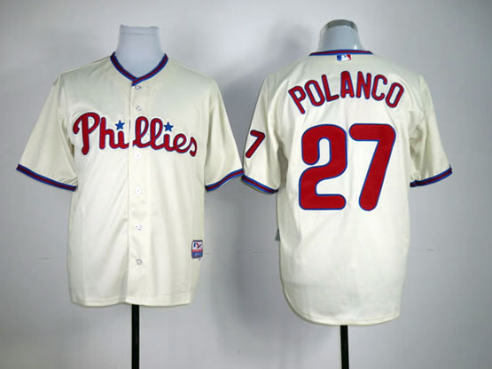 Mens mlb philadelphia phillies #27 polanco cream Jersey