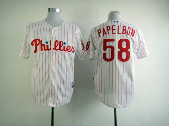 Mens mlb philadelphia phillies #58 papelbon white&red stripe Jersey
