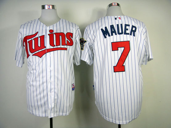 mens mlb minnesota twins #7 mauer white (blue stripe red number) Jersey