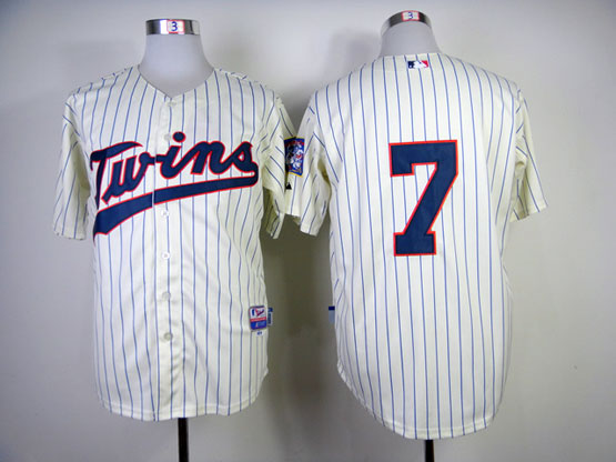 mens mlb minnesota twins #7 mauer cream (blue strip) Jersey