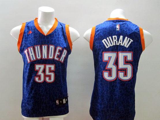 Mens Nba Oklahoma City Thunder #35 Durant Blue Leopard Grain Jersey