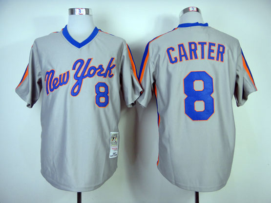 Mens mlb new york mets #8 carter gray throwbacks Jersey