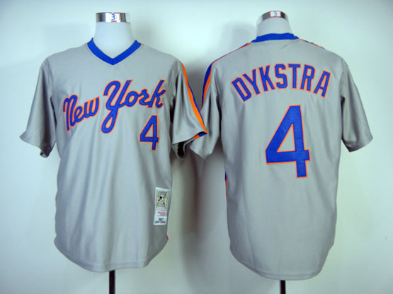 Mens mlb new york mets #4 dykstra gray throwbacks Jersey