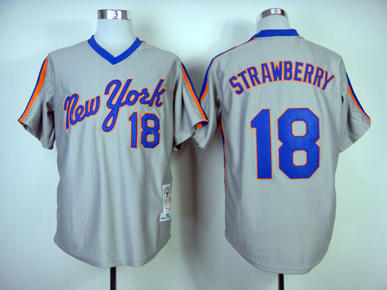 Mens mlb new york mets #18 strawberry gray throwbacks Jersey