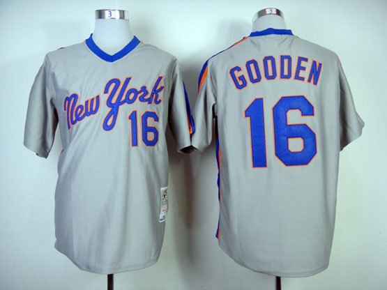 Mens mlb new york mets #16 gooden gray throwbacks Jersey
