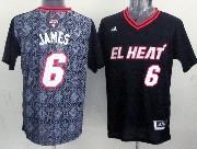 Mens Nba Miami Heat #6 James (2014 Noche Latina) Black Jersey