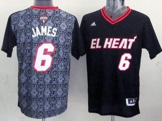 Mens Nba Miami Heat #6 James (2014 Noche Latina) Black Jersey