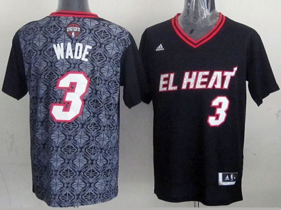 Mens Nba Miami Heat #3 Wade (2014 Noche Latina) Black Jersey