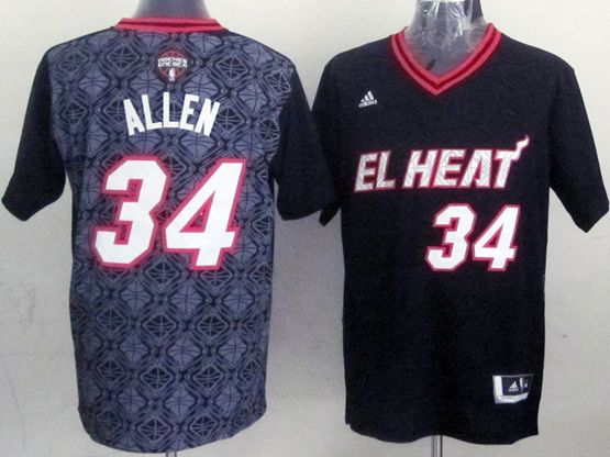 Mens Nba Miami Heat #34 Allen (2014 Noche Latina) Black Jersey