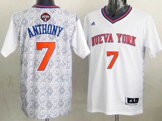 mens nba New York Knicks #7 Carmelo Anthony (2014 noche latina) white jersey
