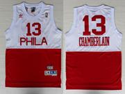 Mens Nba Philadelphia 76ers #13 Chamberlain (phila) White&red Hardwood Classics Jersey