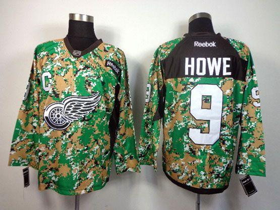 Mens reebok nhl detroit red wings #9 howe (2014 green camo) Jersey
