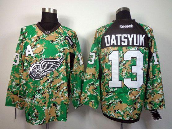mens reebok nhl Detroit Red Wings #13 Pavel Datsyuk (2014 green camo) jersey