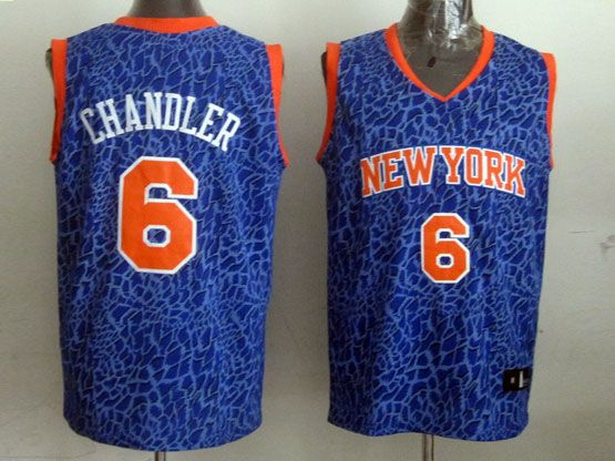 Mens Nba New York Knicks #6 Chandler Blue Leopard Grain Jersey