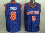 Mens Nba New York Knicks #8 Smith Blue Leopard Grain Jersey