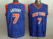 mens nba New York Knicks #7 Carmelo Anthony blue leopard grain jersey