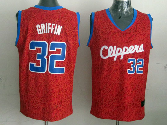 Mens Nba Los Angeles Clippers #32 Griffin Red Leopard Grain Jersey