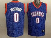 mens nba Oklahoma City Thunder #0 Russell Westbrook blue leopard grain jersey